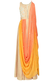 Beige Embroidered Anarkali with Ombred Drape Dupatta by Pre-Ri