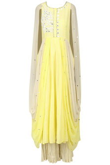 Lemon Yellow Embroidered Cape Cowl Anarkali with Palazzo Pants Set by Pre-Ri