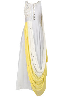 Ice Grey Embroidered Anarkali with Ombred Drape Dupatta by Pre-Ri