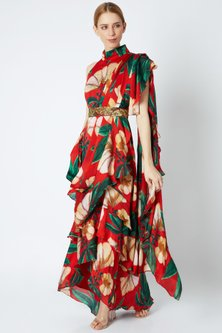 Red Pre-Stitched Saree Set by Prints By Radhika