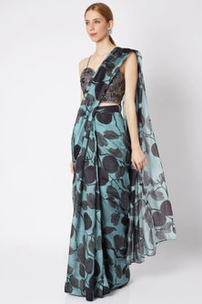 Sky Blue Pre-Stitched Saree by Prints By Radhika