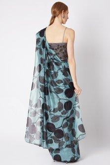 Sky Blue Pre-Stitched Saree by Prints By Radhika