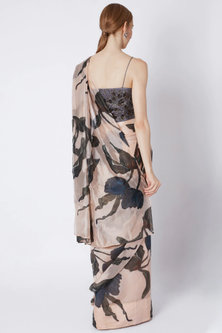 Nude Pre-Stitched Saree by Prints By Radhika