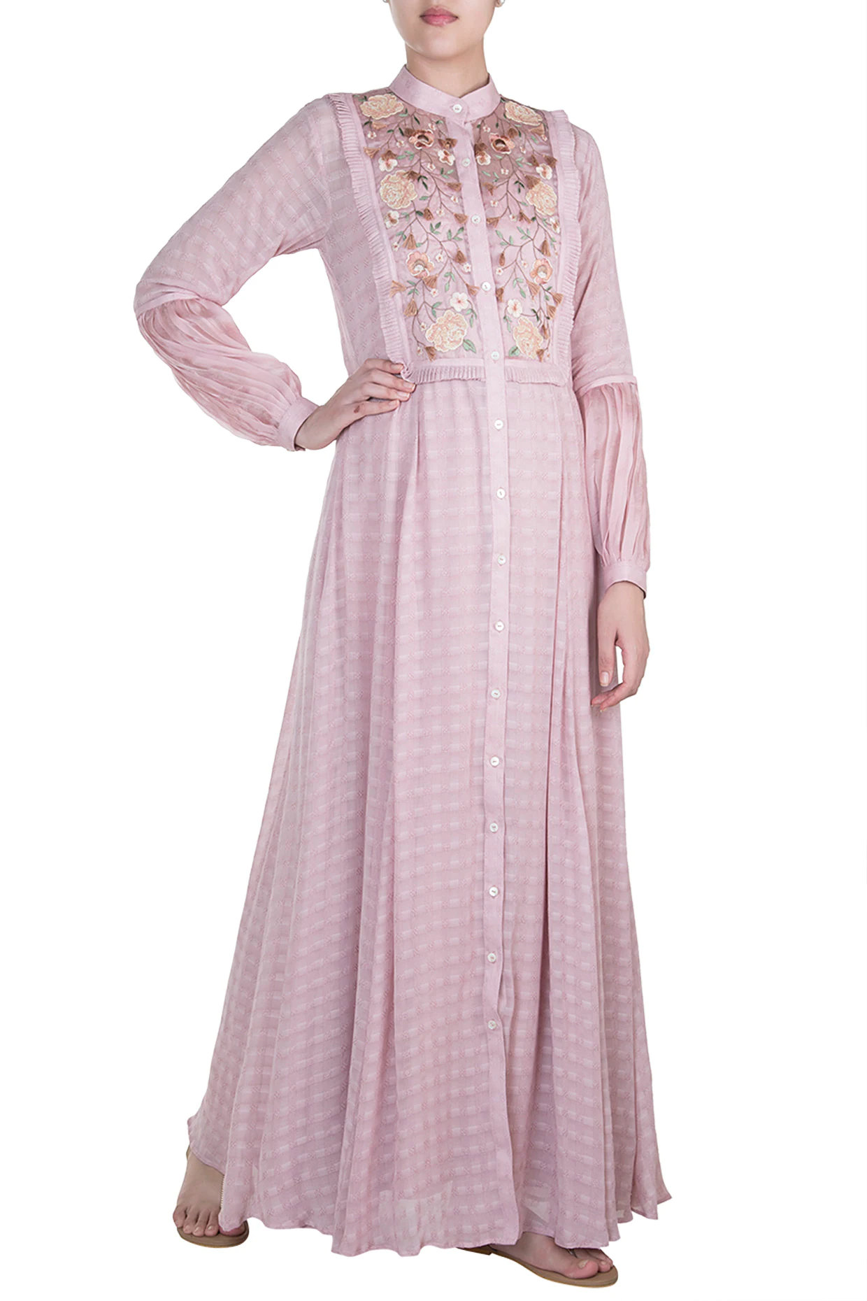 Apple Blossom Embroidered Maxi Dress by Pinnacle by Shruti Sancheti-Handpicked for You