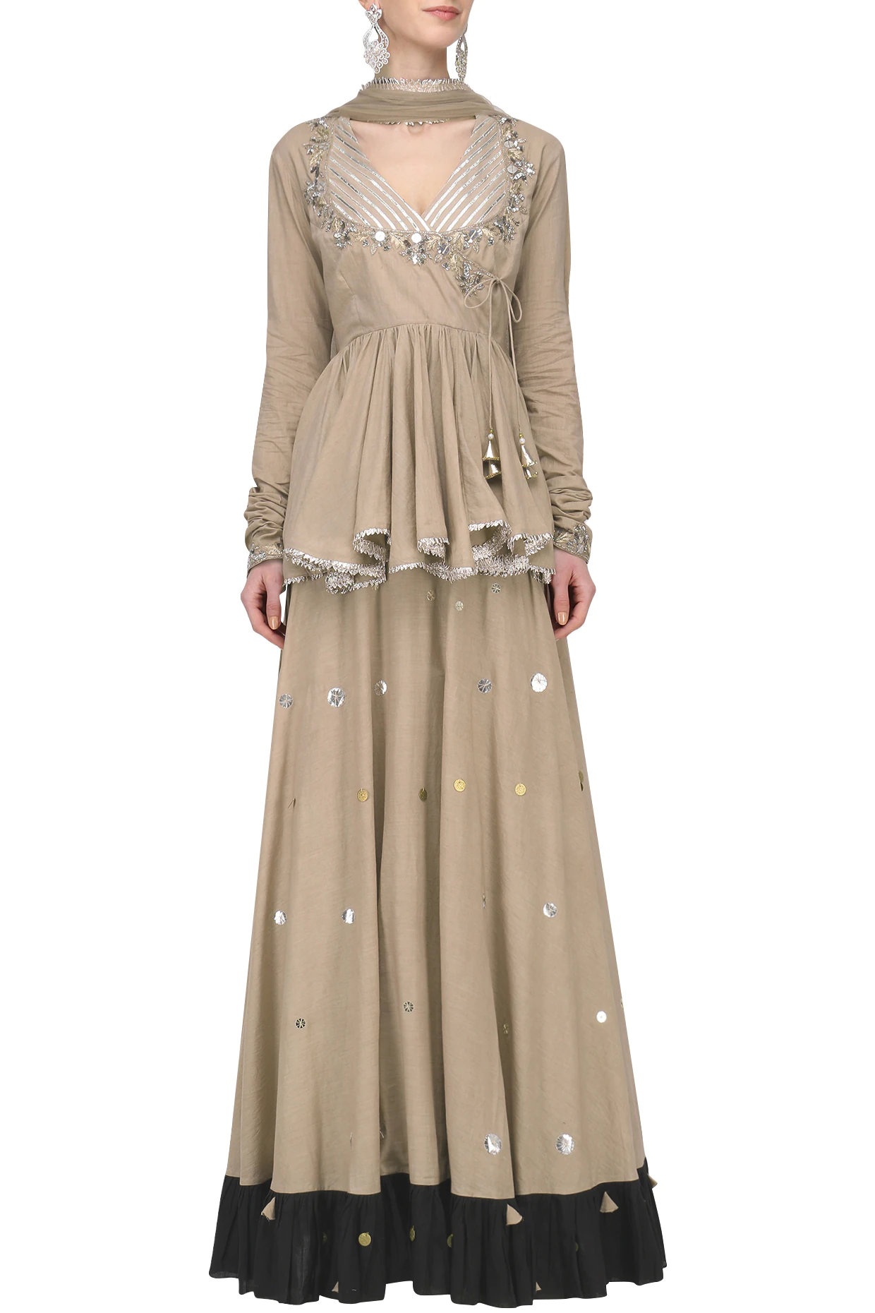 Beige Metal Sequins Embroidered Lehenga Set by Priyanka Singh-Handpicked for You