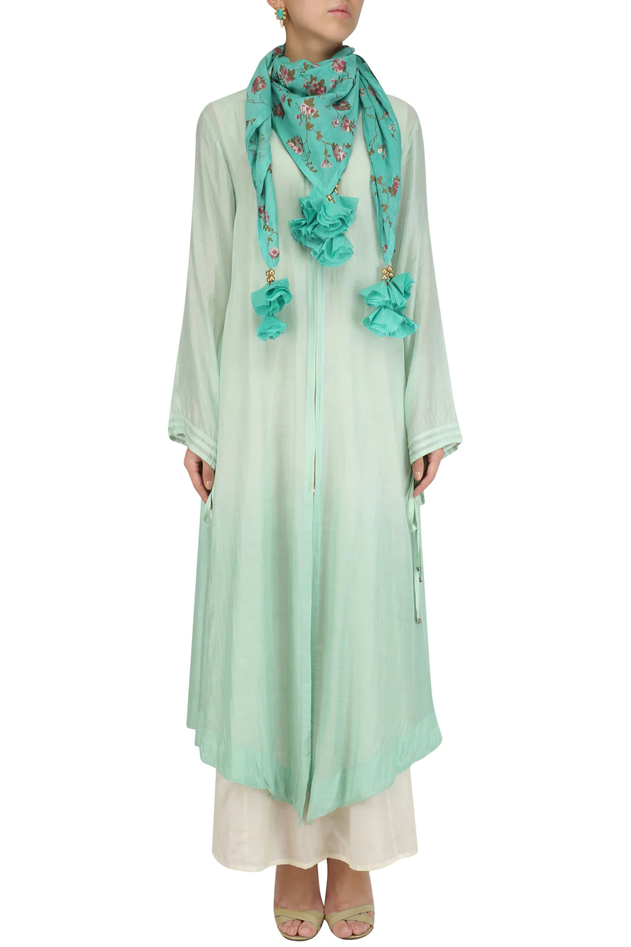 Mint Green Ombre Asymmetrical Tunic with Tassel Hanging Scarf