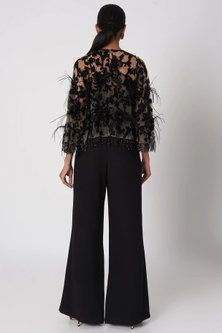 Black Embroidered Jumpsuit With Cape by Platinoir