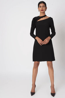 Black Embroidered Mini Dress by Platinoir