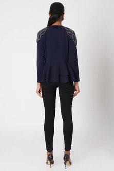 Oxford Blue Embroidered Top by Platinoir