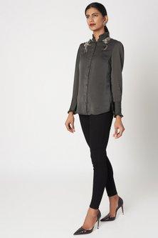 Grey Embroidered Satin Shirt by Platinoir