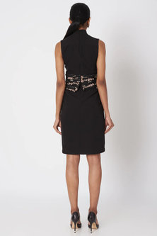 Black Embroidered Flapper Dress by Platinoir