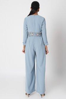 Steel Blue Embroidered Vintage Jumpsuit by Platinoir