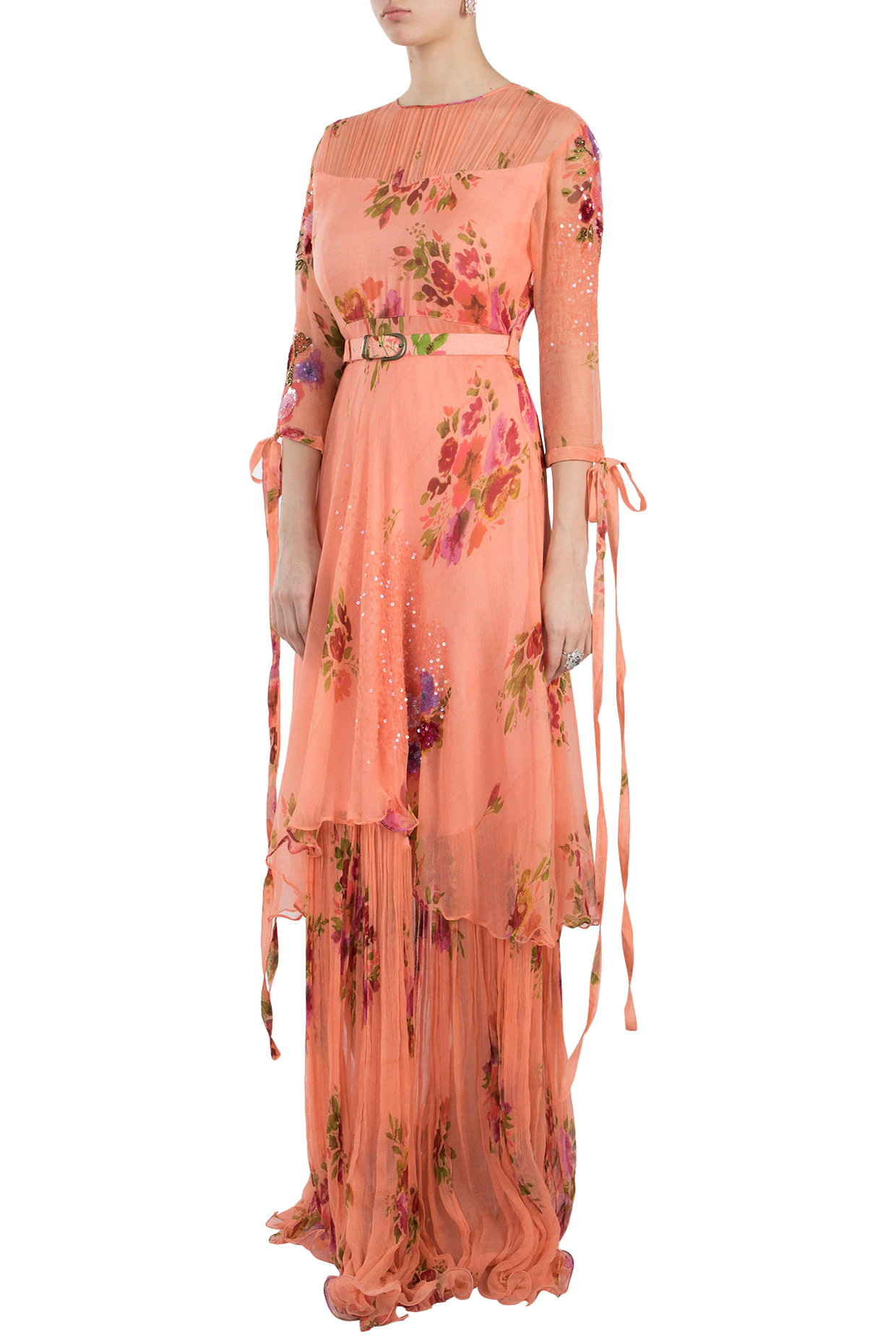 Peach Printed Layered Maxi Dress With Belt