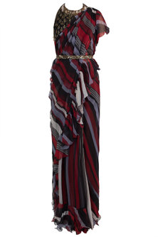 Multi Colored Embroidered Printed Saree Set With Belt by Pallavi Jaipur