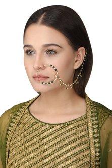 Gold Plated Green Onyx Tabla Nose Ring by Raabta