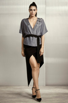 Dull Sky Blue Top With Belt by Rohit Gandhi & Rahul Khanna