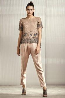 Mauve Lace & Nylon Top by Rohit Gandhi & Rahul Khanna