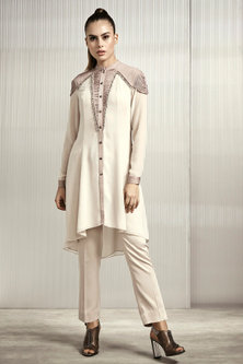 Candle White Textured Georgette Top by Rohit Gandhi & Rahul Khanna