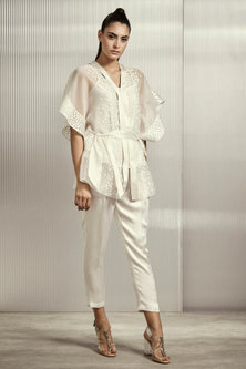 White Silk Organza Top With Belt & Inner by Rohit Gandhi & Rahul Khanna