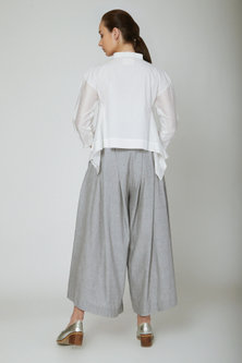 Grey Pleated Wide Leg Pants by Ritesh Kumar