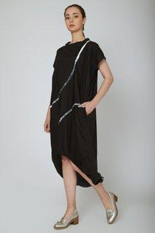Black Circular Cut Midi Dress by Ritesh Kumar