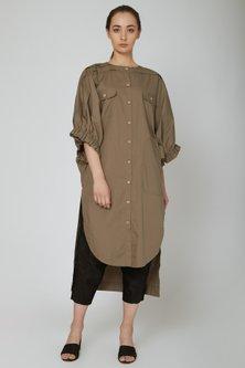 Brown Shirt Dress With Pockets by Ritesh Kumar