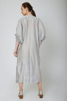 Grey Shirt Dress With Pockets by Ritesh Kumar