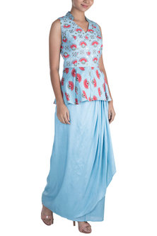 Azure Blue Embroidered Printed Peplum Top With Skirt by Riraan By Rikita & Ratna
