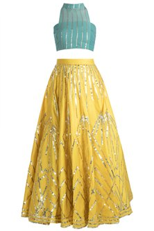 Mustard Sequins Striped Skirt With Teal Green Crop Top by Rishi & Vibhuti