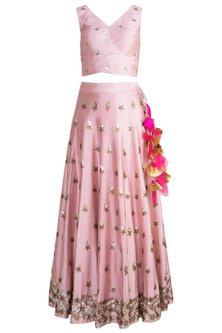 Blush Pink & Ocean Green Embroidered Lehenga Set by Rishi & Vibhuti
