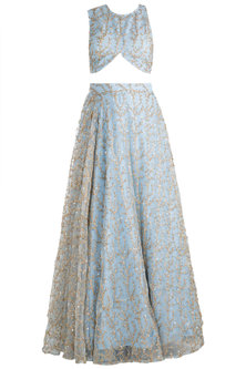 Sky Blue Embroidered Crop Top With Skirt by Rishi & Vibhuti