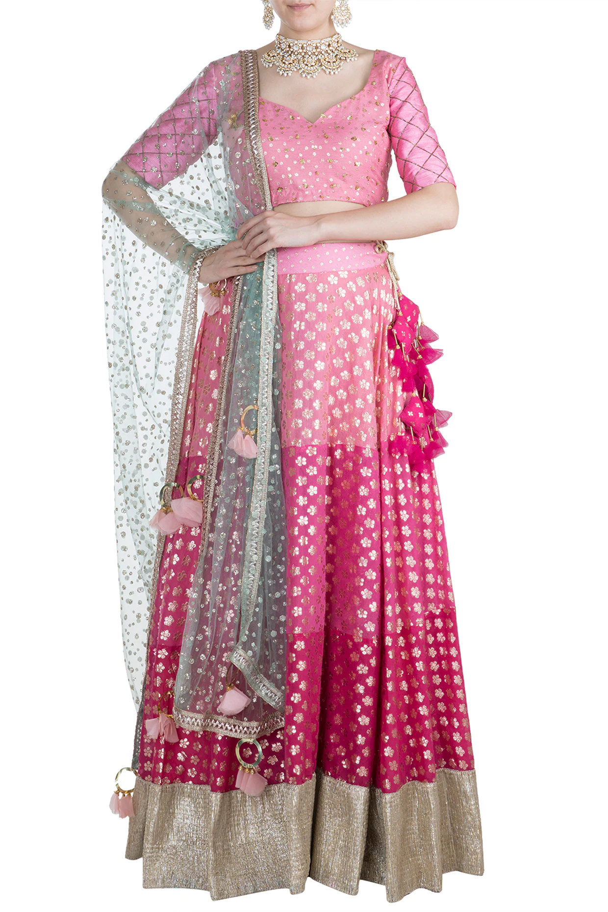 Pink Shaded & Tasseled Lehenga Set