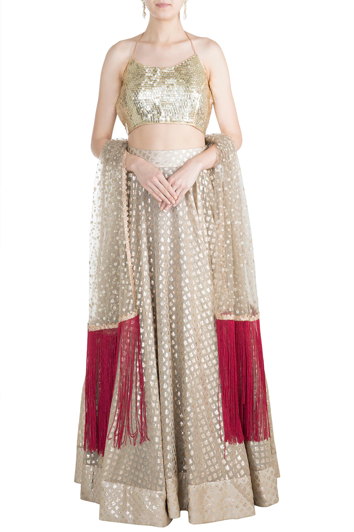 Golden Chanderi Lehenga Set