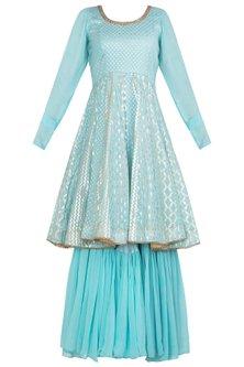 Blue Embellished Anarkali by Rishi & Vibhuti