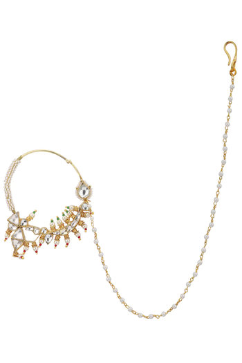 Gold Plated Green and White Nath by Riana Jewellery