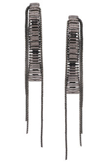 Grey Silver Chain Hanging Earrings by Rejuvenate Jewels