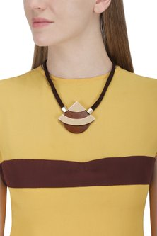 Rose Gold Circular Wood Necklace by Rejuvenate Jewels
