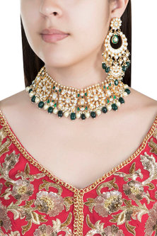 22Kt Gold Plated Emerald & Pearl Choker Necklace Set by Riana Jewellery