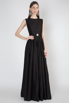 Black Embroidered Gown With Belt by Rocky Star