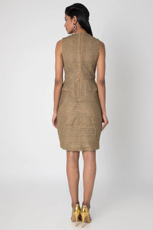 Beige & Antique Gold Dress by Rocky Star