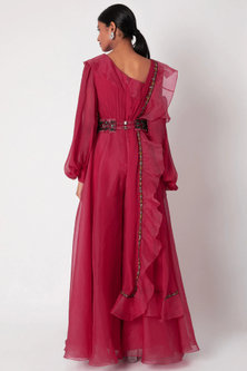 Fuchsia Jumpsuit With Ruffled Dupatta & Belt by Ridhi Mehra