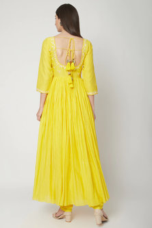 Sunshine Yellow Embroidered & Printed Anarkali Set by Ruchira Nangalia