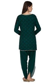 Green Embroidered Kurti With Tulip Pants by Rabani & Rakha