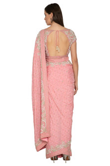 Rose Pink Embroidered Shimmer Saree Set by Rabani & Rakha
