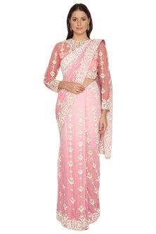 Pink Foil Georgette Jaal Saree Set by Rabani & Rakha