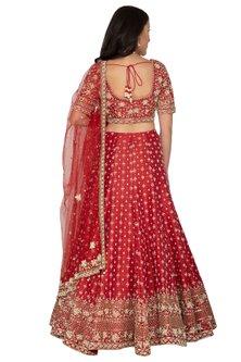 Red Embroidered Lehenga Set by Rabani & Rakha