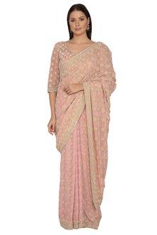 Blush Pink Shimmer Saree Set by Rabani & Rakha