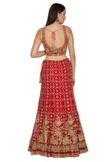 Red Embroidered Net Lehenga Set by Rabani & Rakha