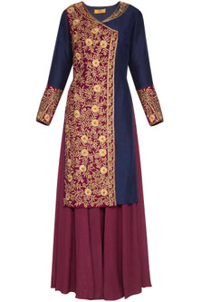 Blue & Wine Embellished Sharara Set by Roora by Ritam