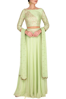 Light Green Embroidered Lehenga Set by Roora by Ritam